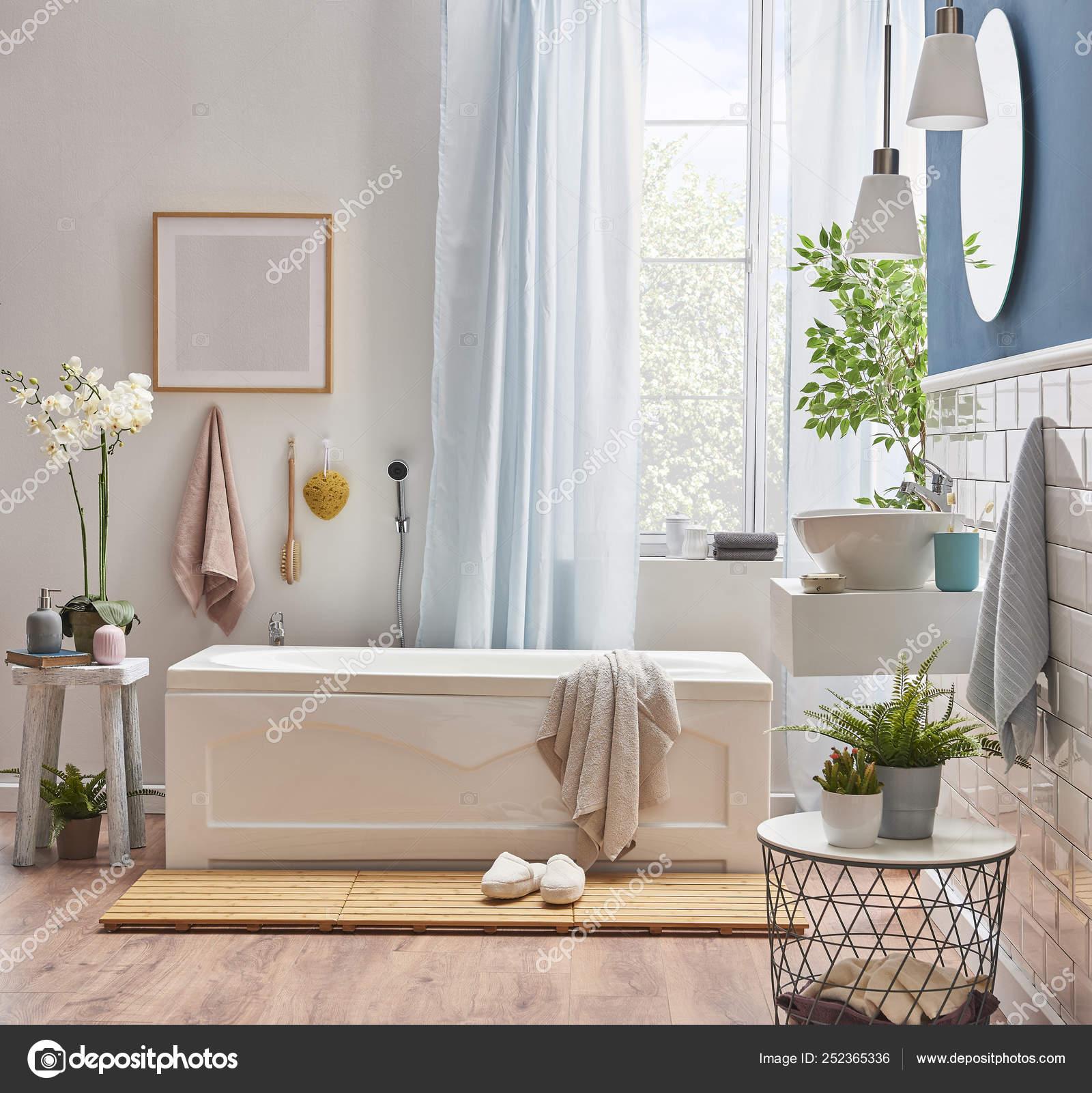 White Blue Wall Decoration White Ceramic Sink Style Bath Room Stock Photo C Unitedphotostudio 252365336