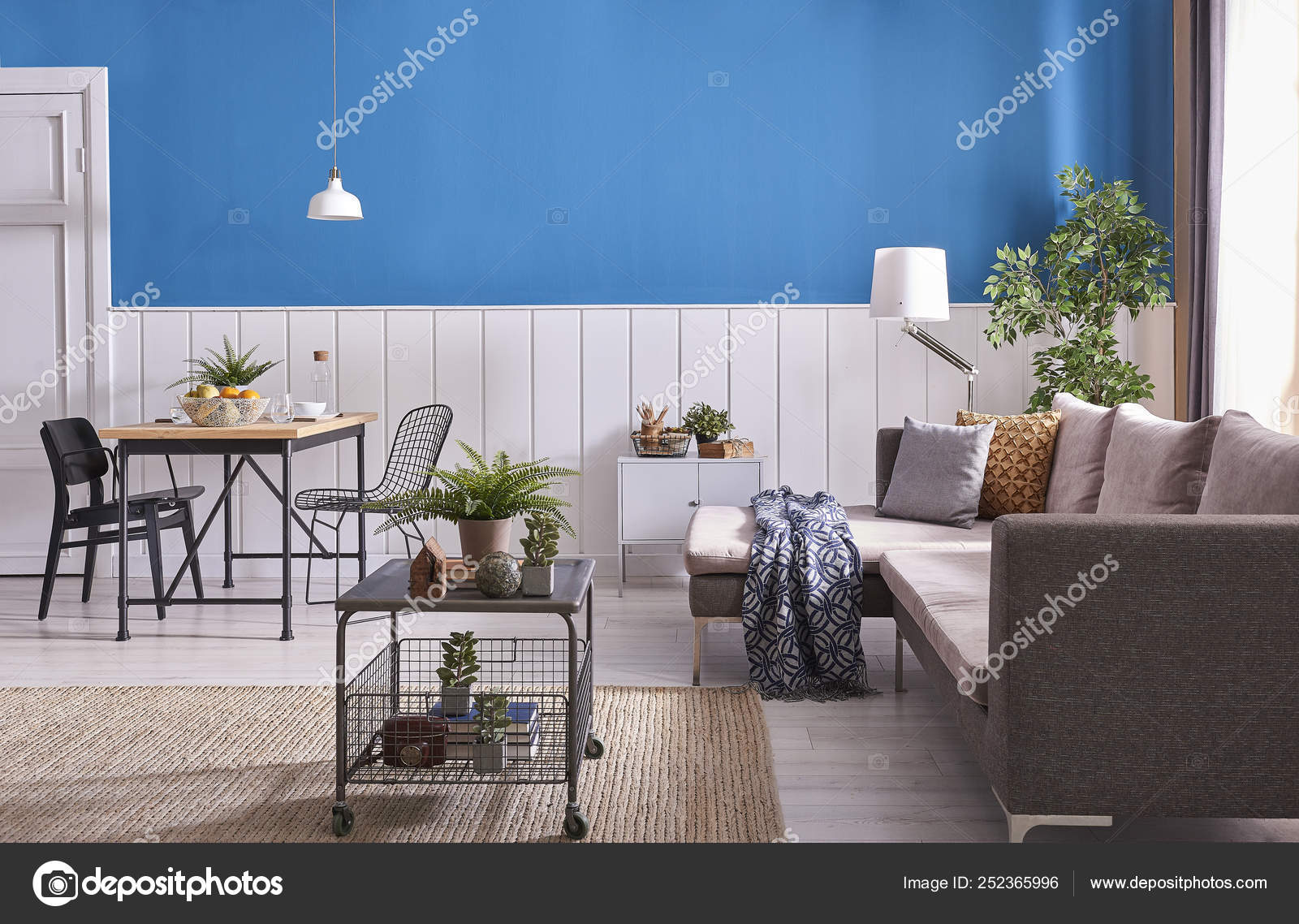 Modern Dining Room Decoration Wooden Table Black Chair Blue White Stock Photo C Unitedphotostudio 252365996