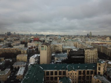 Drone panorama Moscow city copter