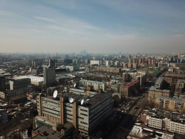 Copter panorama Moscow city