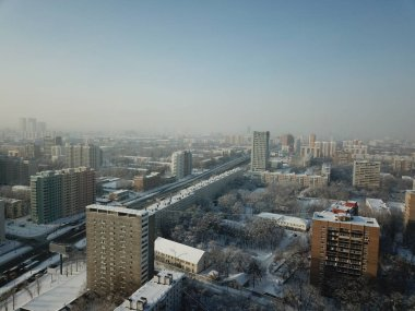 Moscow panorama copter sky view
