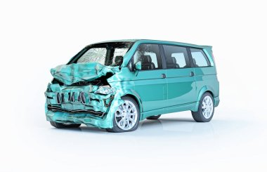 Single car accident. Green van heavily damaged on the front part. Isolated on white background. Perspective view.