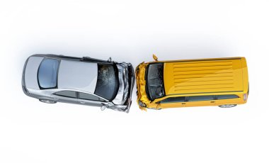 Two cars accident. Crashed cars. A yellow van against a silver sedan. Big damage. Isolated on white background. Viewed from the top.