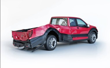 Single car crashed. Red pick up damaged on the rear part. Isolated on white background. Perspective view.