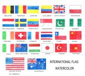 Akvarel mezinárodních vlajek obsahuje Belgie, Rumunsko, Ukrajina, Kolumbie, Spojené království, Spojené státy americké, Thajsko, Čína. Země v Americe, Asii, Evropě. Vlajka celého světa.