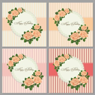 Set of card with flower rose, leaves. Set of Birthday card, poster, template, greeting cards, flower, Vector illustrations, design elements isolated on white