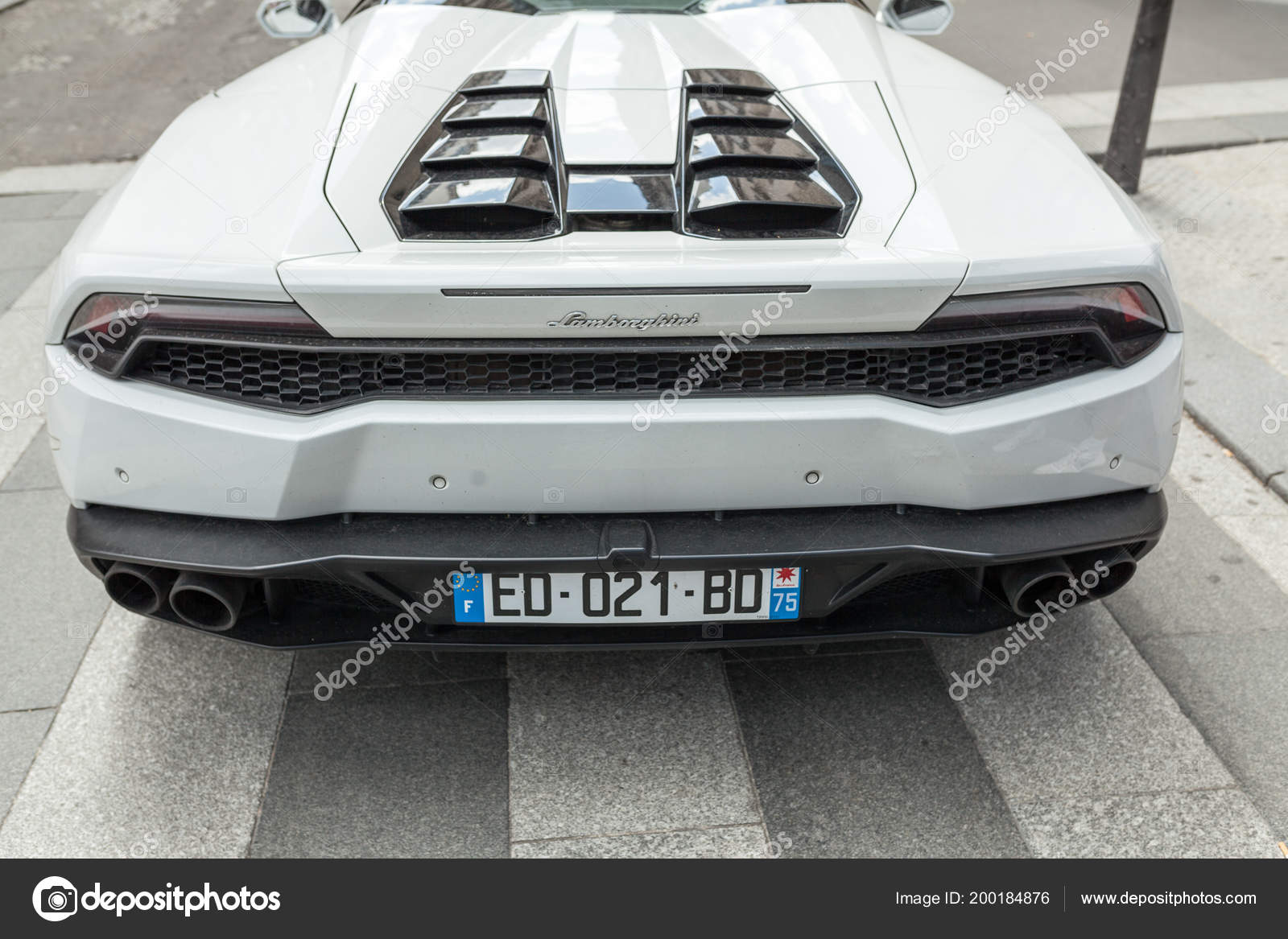 Paris France June 2018 White Lamborghini Rear View Parking Street