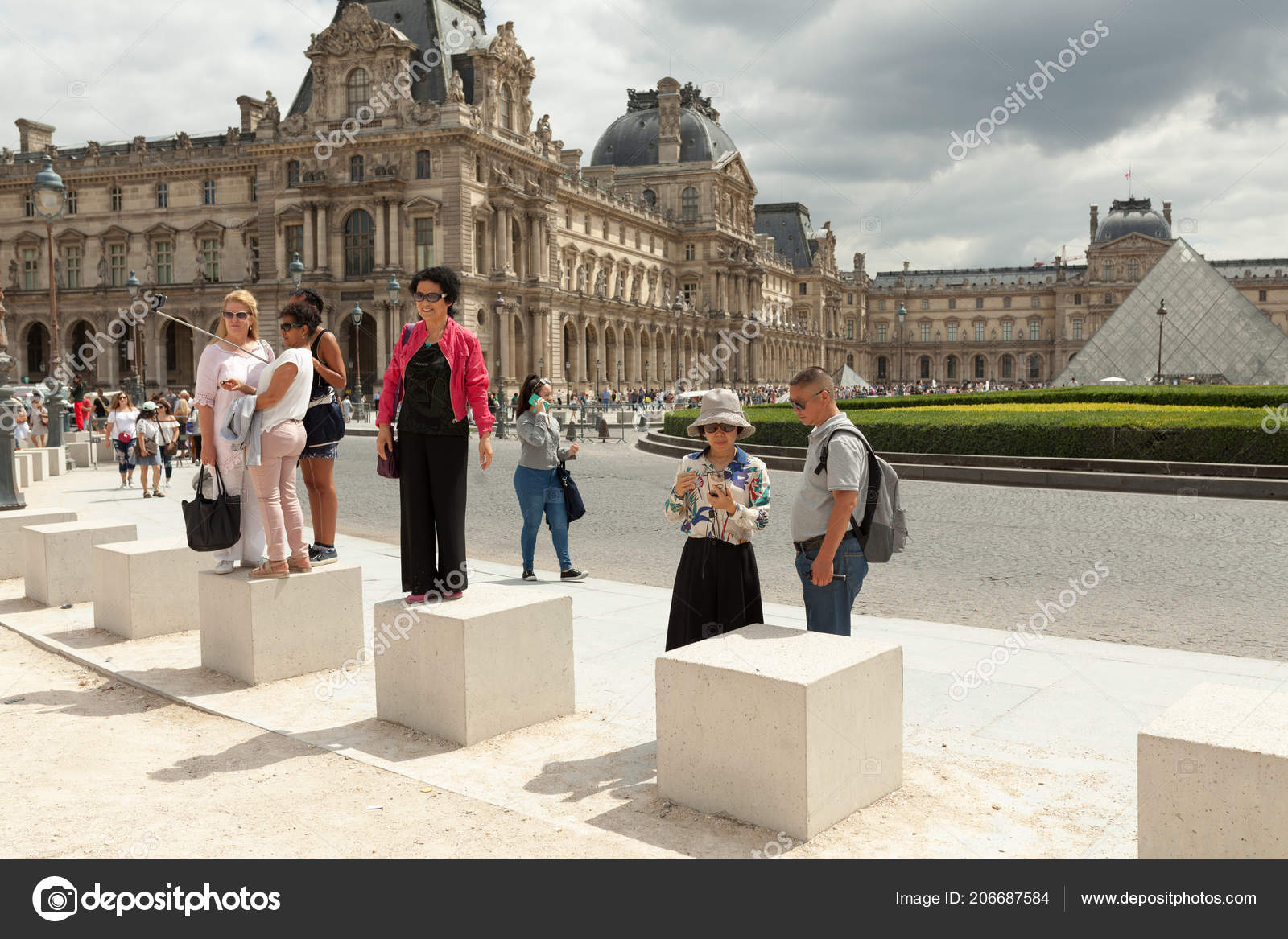 paris france june 01 2018 tourists taking selfie photos in