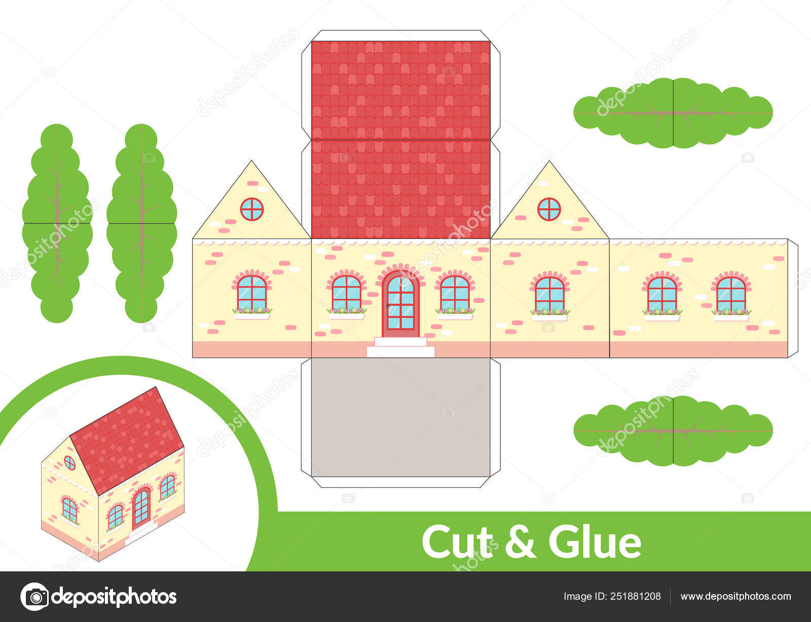 Cut And Glue A House Children Art Game For Activity Page