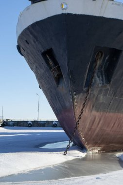 Cargo ship in the winter parking