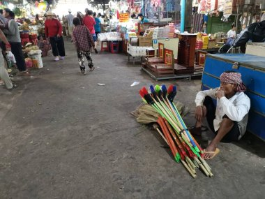 Scene of trader/seller and people at the city wet market at Sihanoukville, Cambodia in the early morning.