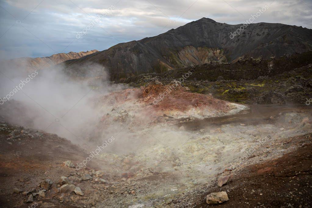 Volcanic sulfur-hydrogen geysers in the Landmannalaugar mountains