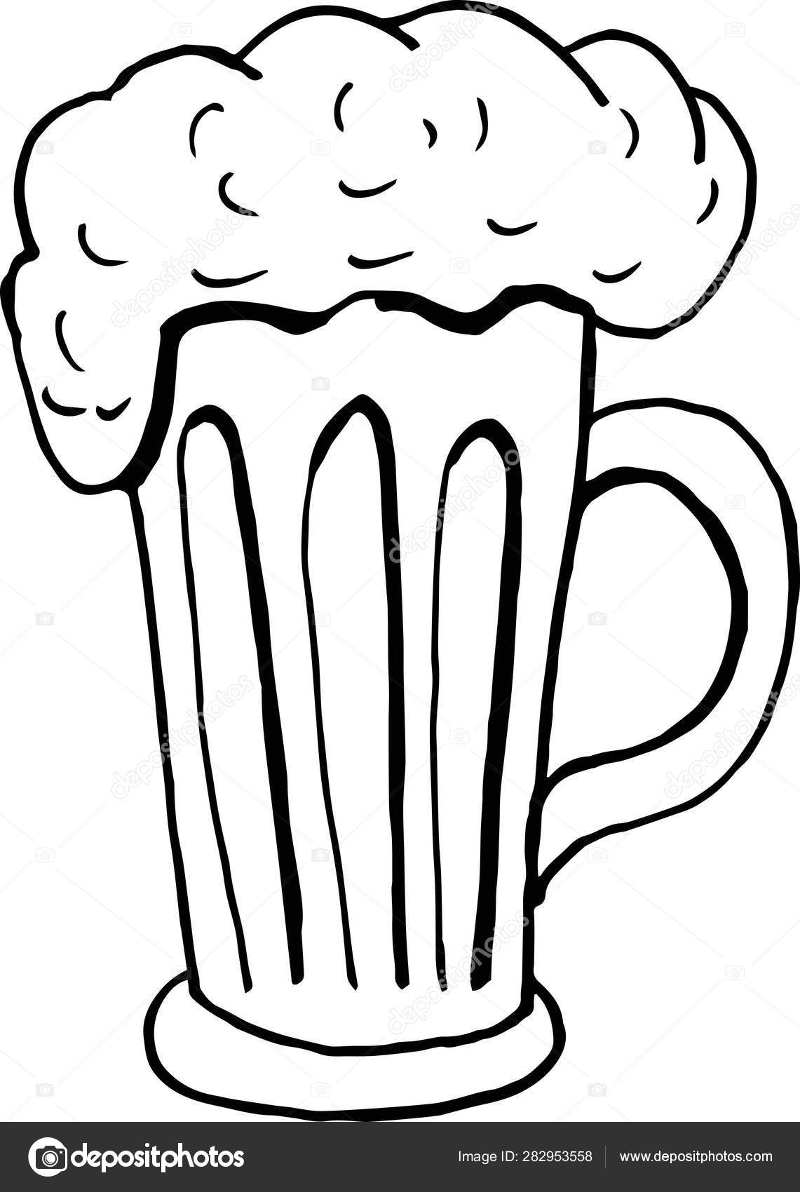 Hand Drawing Beer Mug With Foam On A White Background Doodle Vector Illustration Element For Menu And Posters Stock Vector C Anastasiairk Gmail Com 282953558