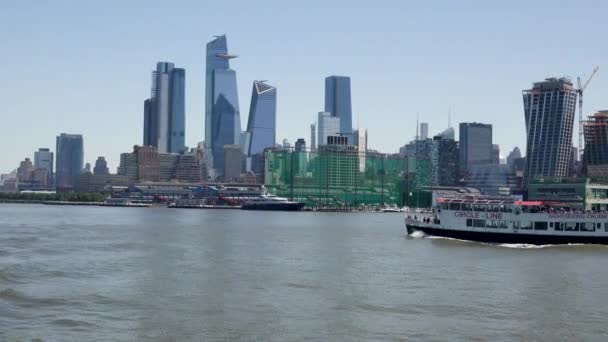 Overlooking Lower Manhattan. Boat Tour Journey Down the Hudson River, New York.