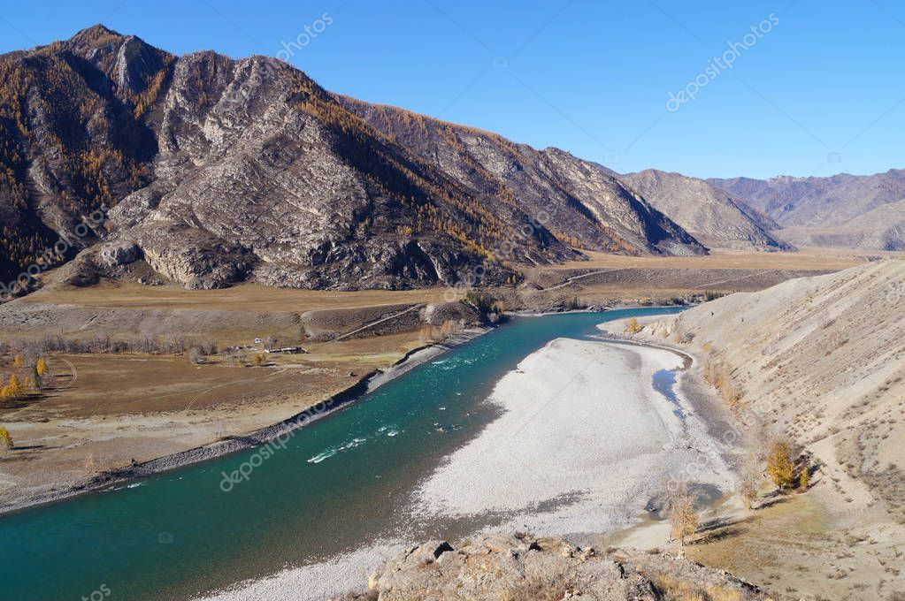 Beautiful mountain and Katun River in Altai,Russia.