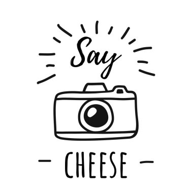 Hand draw Photo Camera Line Poster with the words Say cheese. Vector illustration in Simple Doodle Style