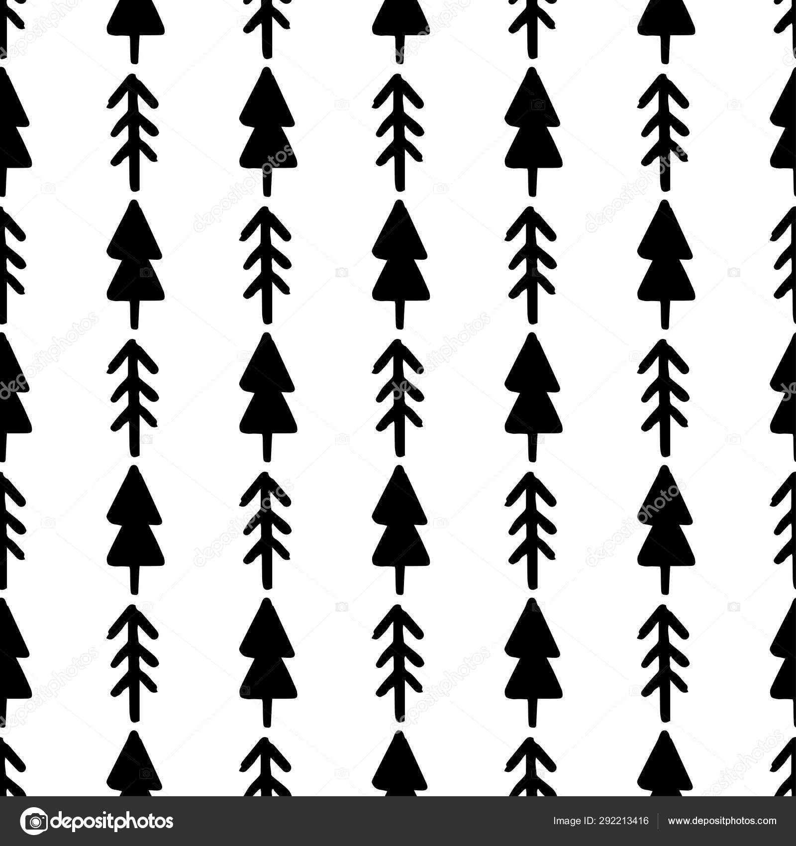 hand draw christmas tree seamless pattern in black and white