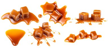 Golden Butterscotch toffee caramel splashes and candies  isolated on white background