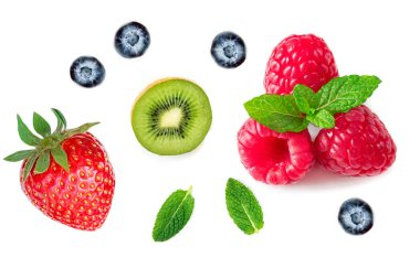 Berries Collection.  Strawberry, raspberry, Kiwi fruit, Mint and Blueberry isolated on white background, Macro