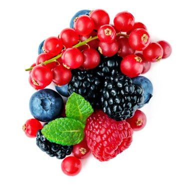 Berries mix isolated on white background. Mixed Pile of Raspberry, Red currant,  Blueberry and Blackberry with mint leaves. Top view