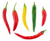 Fotografia Raccolta dei peperoncini isolato su sfondo bianco. Vista dallalto. Ingrediente alimentare. Rosso, giallo, Green pepper