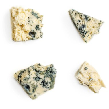 Collection of Blue cheese pieces. Smelling cheese isolated on a