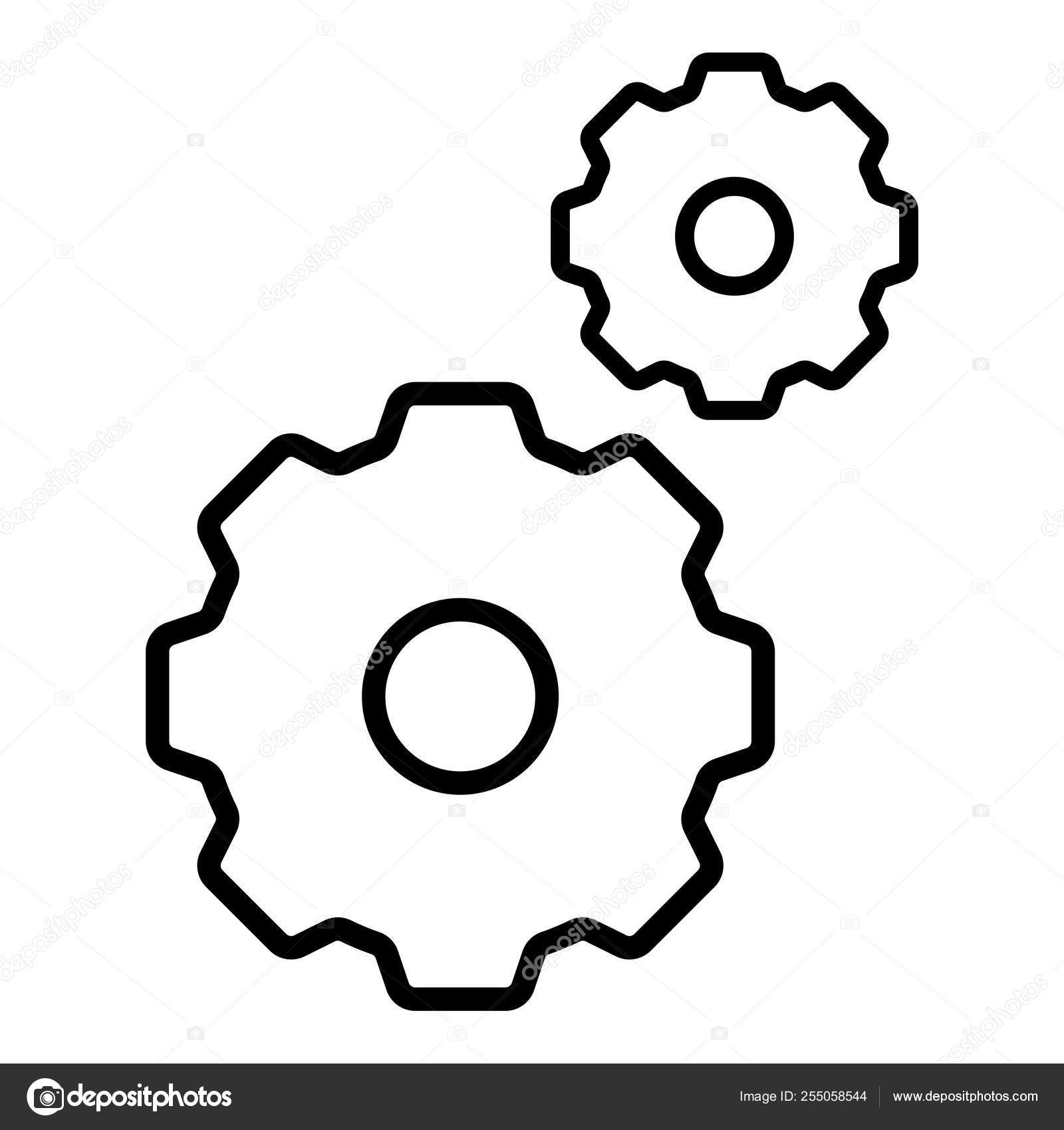 Gears Icon Isolated Group White Background Symbol Repair