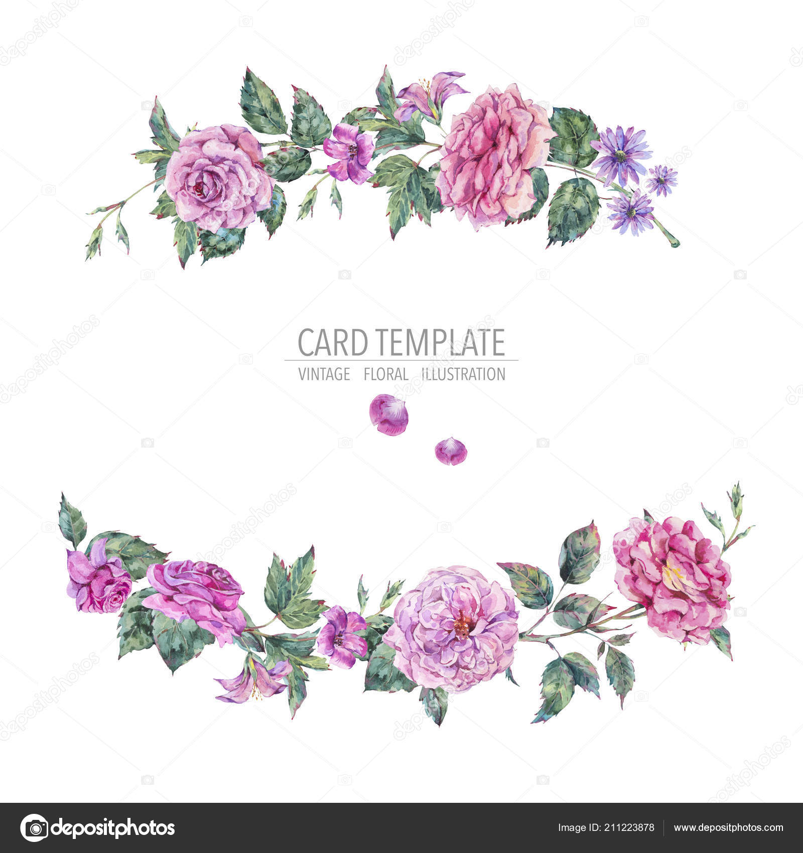 Decorative Vintage Watercolor Pink Roses Wreath Botanical Colorful