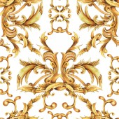Aquarell goldenes barockes nahtloses Muster, Text mit Rokoko-Ornamenten