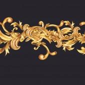Watercolor golden baroque floral seamless border with curl, roco