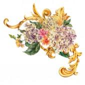 akvarel zlaté barokní květinové kudrlinky, hortenzie, divoké květiny,