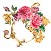 Aquarell goldene barocke florale Locken und rote Rosen runden Rahmen,