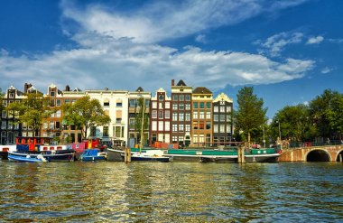 Canals and boats of Amsterdam. Holland