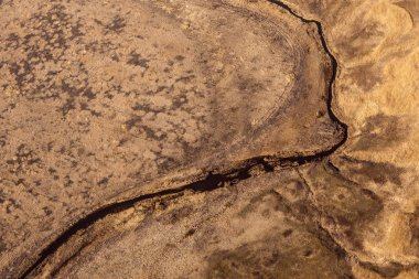 Earth from a height of flight. Aerial view of a large river and smaller tributaries.