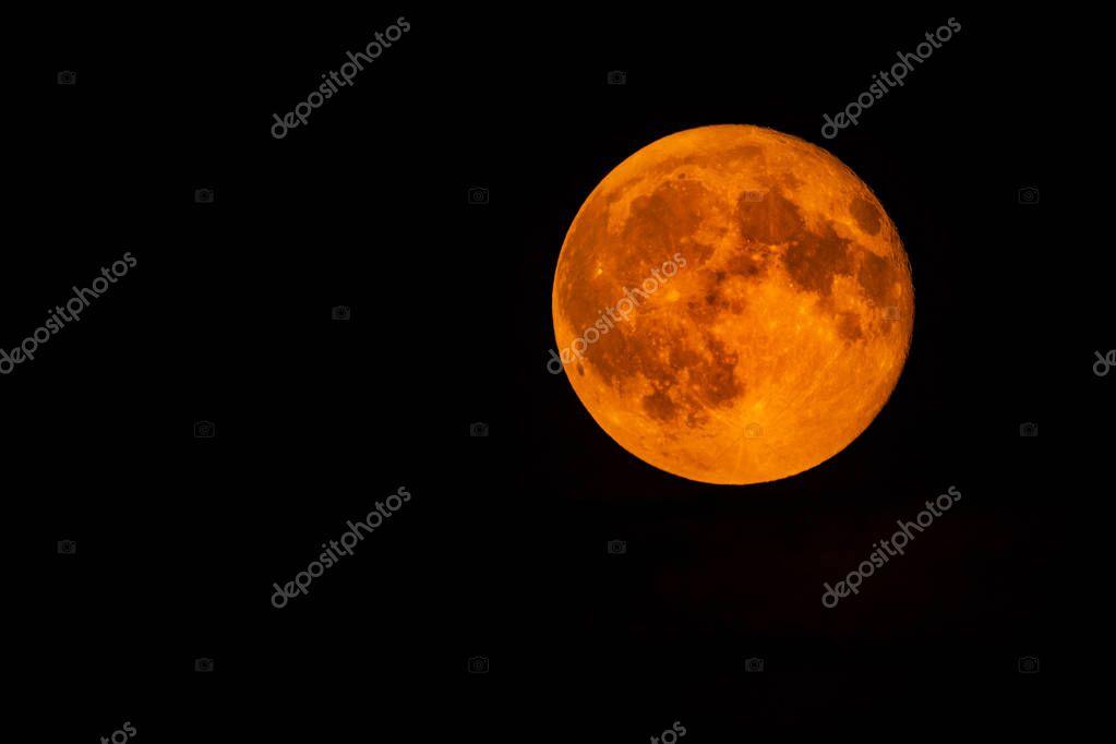 Blood full moon in the night sky