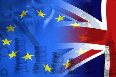 European Union and British Union flag , UK Brexit, European Union broken stock vector