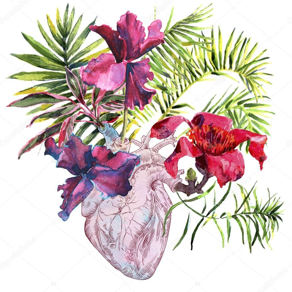 Human heart with flowers, plant and leaf, watercolor