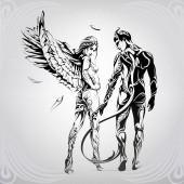 Angyal és démon virágdísszel