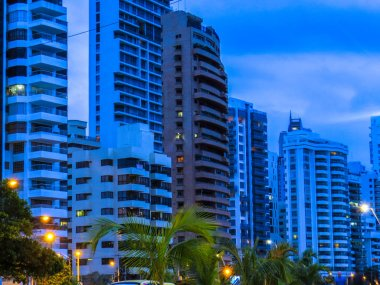 Buildings in Cartagena Colombia at evening