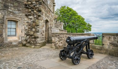 Cannon along the walls of Stirling Castle, Scotland. July-05-2017