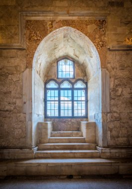 Indoor view in Castel del Monte, medieval fortress in Apulia, southern Italy.