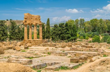 Ruins of Temple of Castor and Pollux in the Valley of the Temples. Agrigento, Sicily, southern Italy.