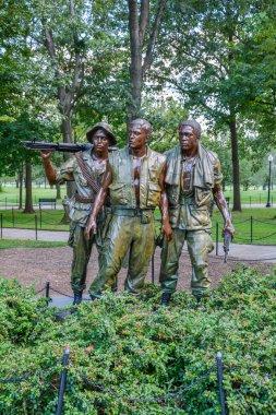 Vietnam War Memorial, Three Servicemen statue in Washington D.C., August-05-2016