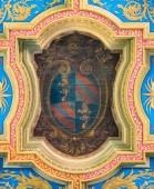 Papež Pius IX., znak ve stropě baziliky Sant  Anastasie nedaleko Palatinu v Římě. Březen-23-2019