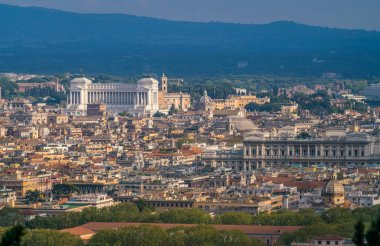 Panoramic view from the Zodiaco Terrace in Rome with the Vittoriano (Altar of the Fatherland). Rome, italy.