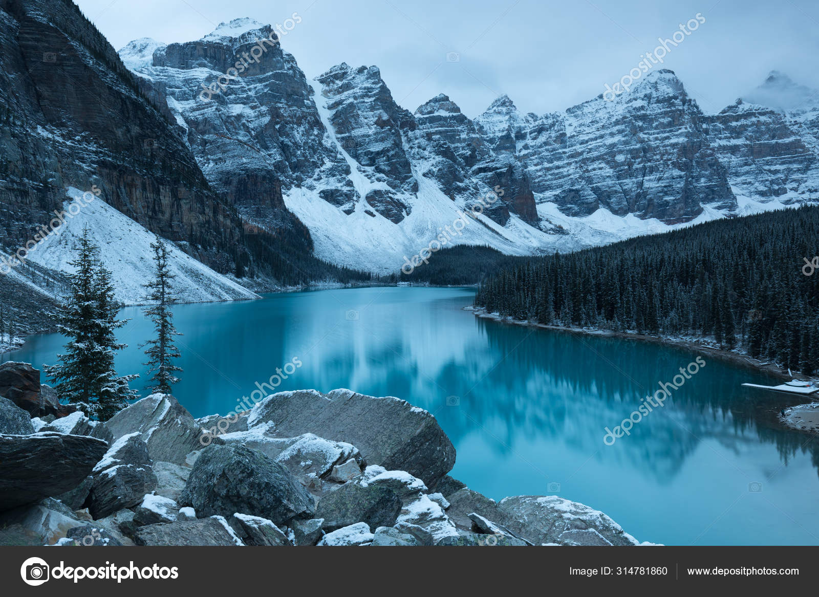 First Snow Morning Moraine Lake Banff National Park Alberta