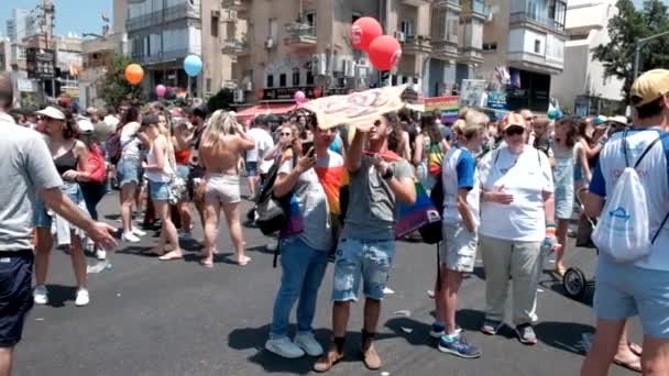 ISRAEL - Tel Aviv, 14 June 2019: Slowe motion traditional gay lesbian gay pride parade Tel Aviv 2019