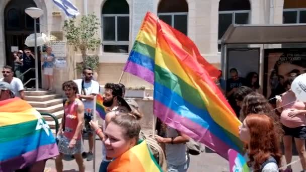 ISRAEL - Tel Aviv, 14 June 2019: Slowe motion traditional gay lesbian gay pride parade Tel Aviv 2019