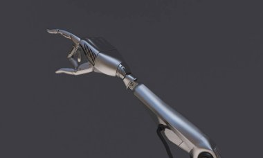 robot hand on the black background. Robot technology for the fut