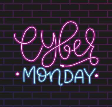 Neon calligraphy Cyber monday, template with lettering composition on bricks wall, vector illustration.